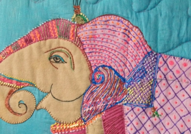 Embroidered image of Bengal elephant.