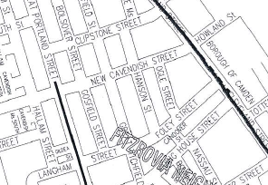 Map of western side of Fitzrovia in Westminster.