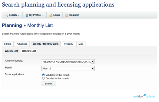 Planning and licensing search box.
