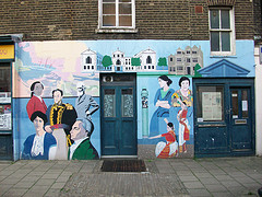 Mural on wall.
