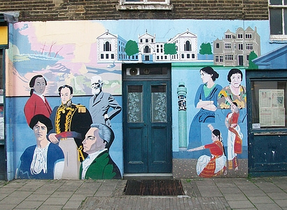 Mural on wall, painted by Brian Barnes MBE.