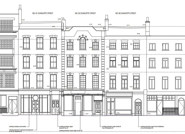 Front Elevation Of Houses In London : Planning application charlotte street london w t