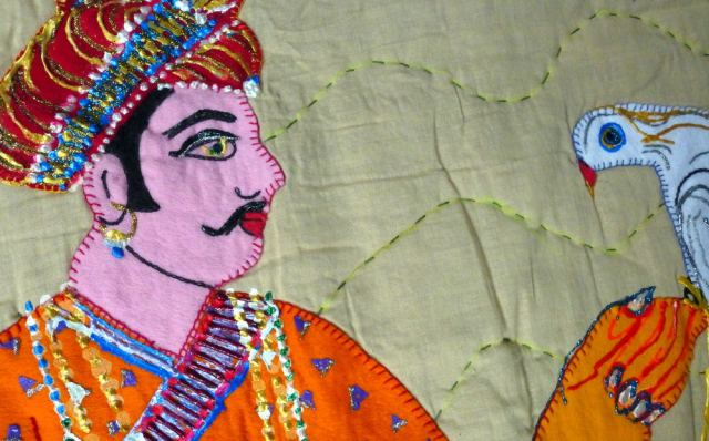 Textile of man with bird.