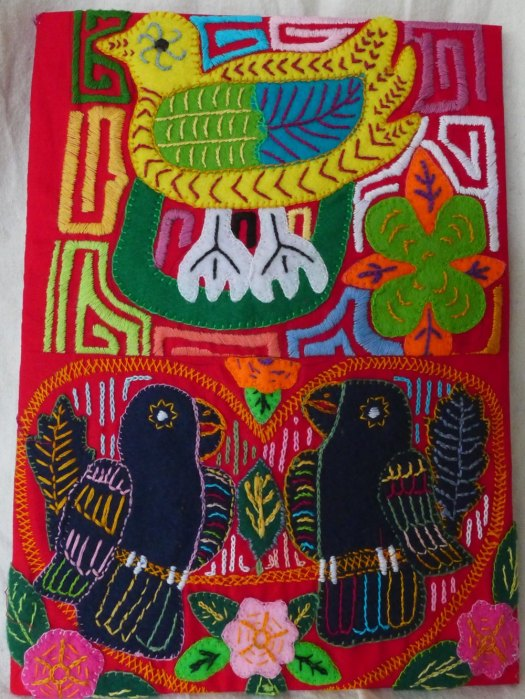 Cotton, wool felt, rayon thread, with art board backing. Approx. 33cm x 24cm.