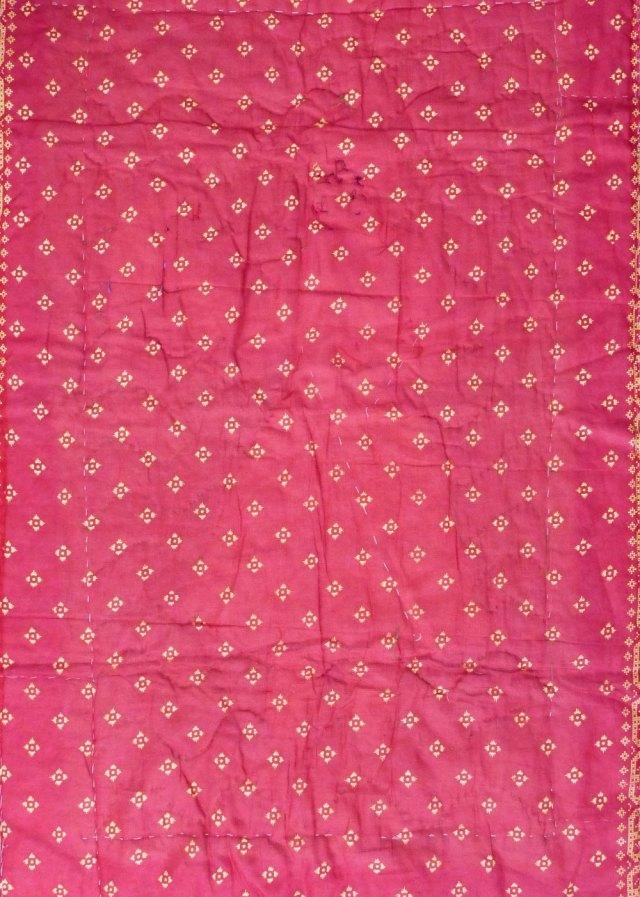 Silk sari material, crimson printed gold..