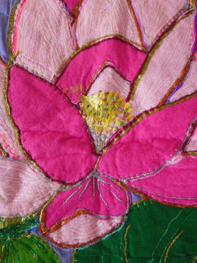 Detail of embroidery stitching.
