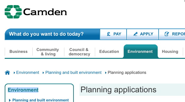 Camden planning page.