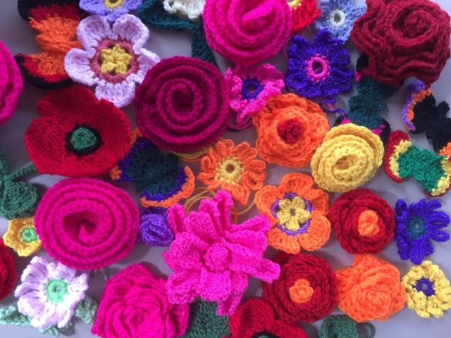 Crochet and knitted flowers.