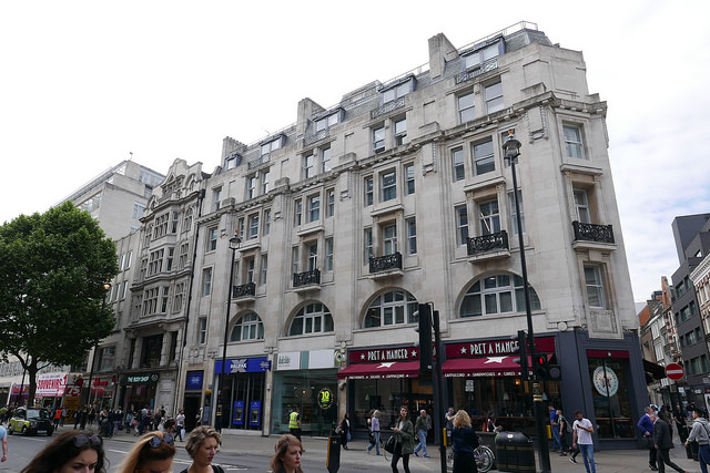 Building on corenre of Oxford Street and Rathbone Place.