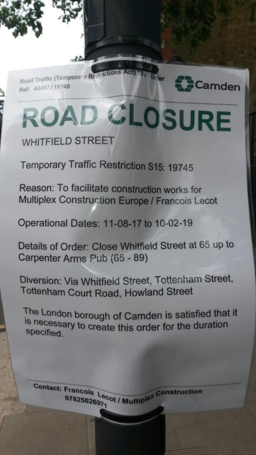 Road closure notice.