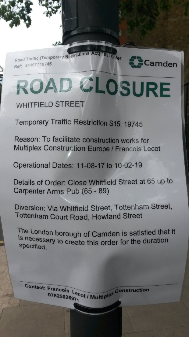 Road closure notice.