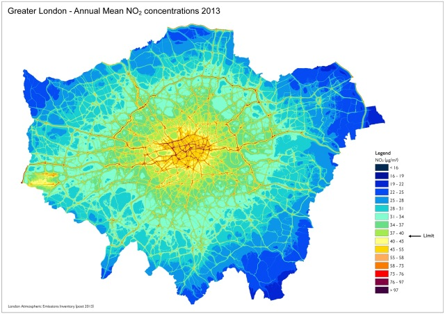 NO2 map Greater London.