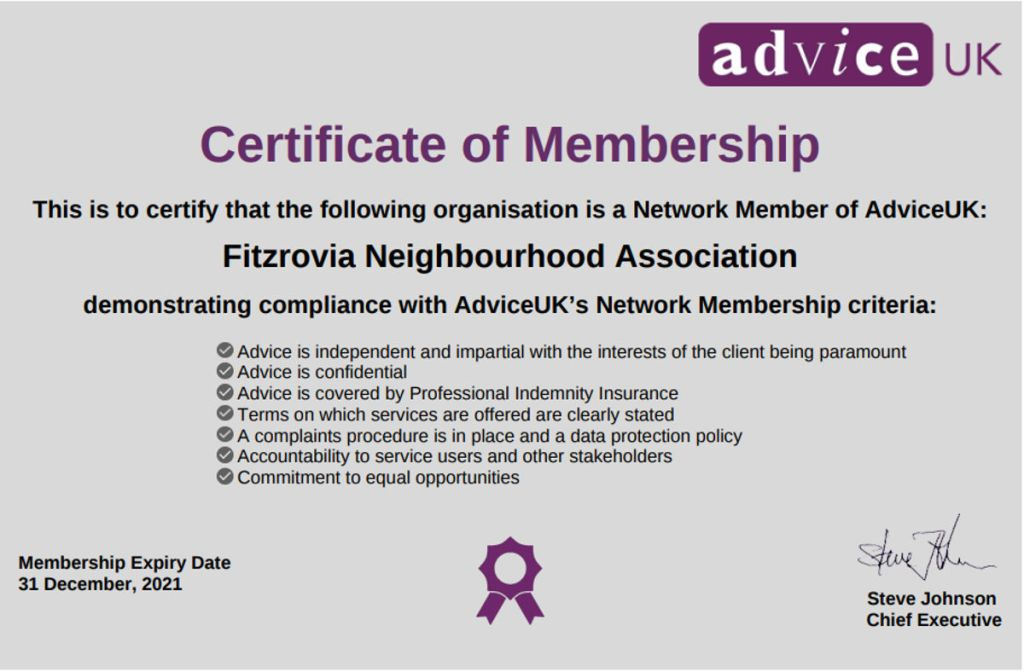 Advice UK, certificate of membership 2021.